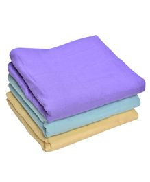 MK Handicrafts Large Cotton Quilts Pack of 3 - Purple Blue Cream