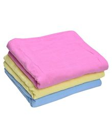 MK Handicrafts Large Cotton Quilts Pack of 3 - Pink Yellow Blue