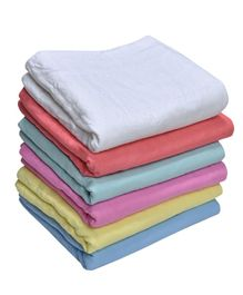 MK Handicrafts Cotton Quilts Pack of 6 - White & Multicolour