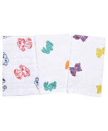 MK Handicrafts Cotton Quilts Animal Design Pack of 3 - White