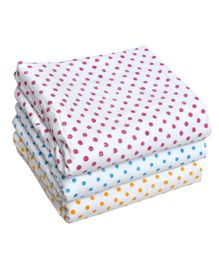 MK Handicraft Large Cotton Quilts White Base Pack of 3 -  Pink Blue Orange