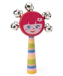Alpaks Girl Shaped Gungroo Rattle Toy (Colour & Design May Vary)