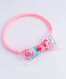 Ribbon Candy Floral Stretchy Band With Lace - Pink & Blue