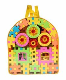 Planet of Toys Building Blocks With Bag Yellow & Multicolour - 118 pieces
