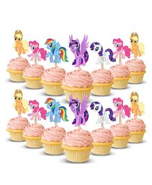 Party Propz My Little Pony Themed Cup Cake Toppers Multicolour - 14 Pieces