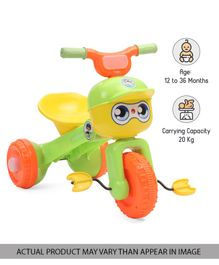 Babyhug Skipper Foldable Tricycle With Music & Light  - Green Yellow