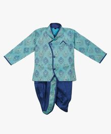 Little Pockets Store Printed Sherwani & Dhoti Set - Blue