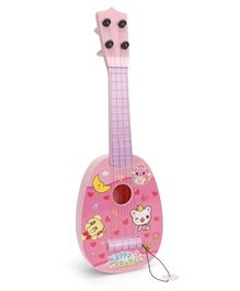 Musical Acoustic Guitar Heart & Kitty Design - Pink