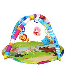 Playhood Baby Gym Mat With Toys Safari Print - Multicolour