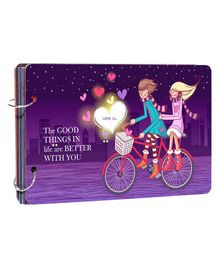 Studio Shubham Wooden Scrapbook Album Good Things In Life Are Better With You Pint - Purple