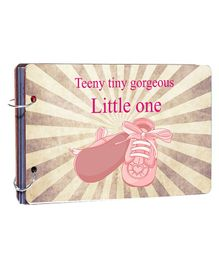 Studio Shubham Wooden Scrapbook Album Little One Print - Pink Grey