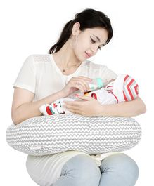 Lulamom Portable Allergen Protected Nursing Pillow Printed - Grey