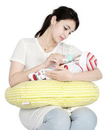 Lulamom Portable Curved Soft Feeding Pillow Chevron Pattern - Yellow