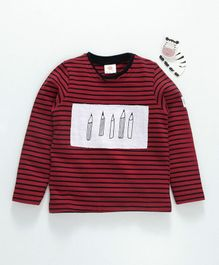 Scampy Crayons Print Striped Full Sleeves Tee - Red