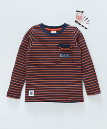 Scampy Striped Full Sleeves Tee - Orange