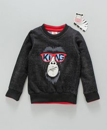Scampy Monkey Print Full Sleeves Sweatshirt - Black