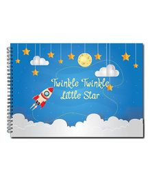 Little Jamun Sketch Book Star & Rocket Print - Blue