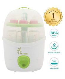 R for Rabbit Automatic Baby Bottle Steam Steriliser White Green - Fits 6 Bottles