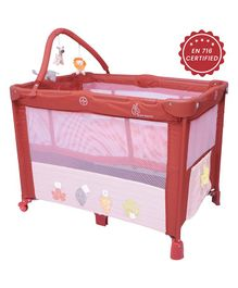 R for Rabbit Hide and Seek Baby Cot Cum Crib Animal Design - Red