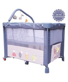 R for Rabbit Hide and Seek Baby Cot Cum Crib Animal Design - Blue