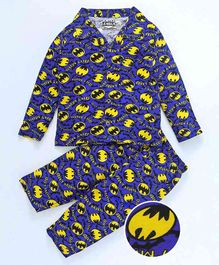 Eteenz Full Sleeves Night Suit Batman Print - Royal Blue