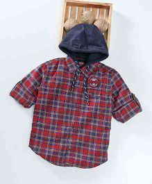 Palm Tree Full Sleeves Hooded Check Shirt Brooklyn Patch - Navy Blue Red