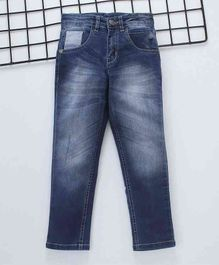 Palm Tree Full Length Stone Wash Jeans - Blue