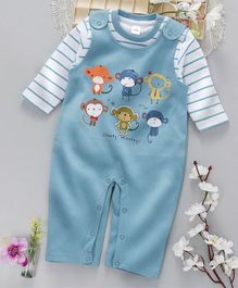 ToffyHouse Dungaree Romper With Inner Tee Monkey Print - Blue