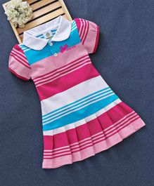 Watermelon Collar Neck Striped Cap Sleeves Dress - Pink & Blue