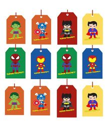 Party Propz Superhero Theme Thank You Tag Multicolour - 12 Pieces