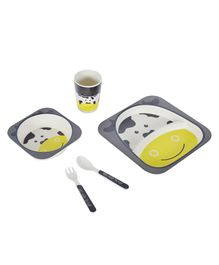 SmartCraf Bamboo Dinner Set Cow Design Grey & Yellow - Pack of 5