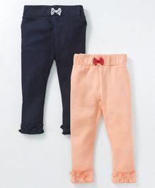 Mom's Love Full Length Leggings Pack of 2 - Peach & Navy Blue
