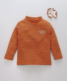 Watermelon Striped Full Sleeves High Neck Tee - Orange