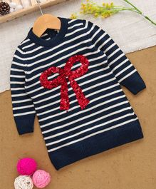 Yellow Apple Full Sleeves Sweater Sequin Bow Design - Navy Blue