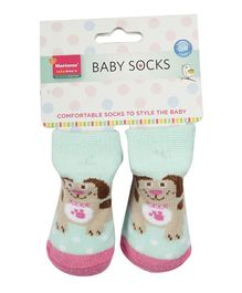 Morisons Baby Dreams Ankle Length Socks Puppy Design - Sea Green