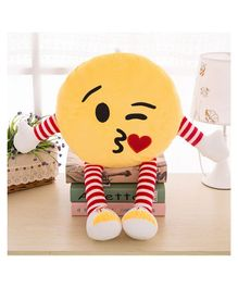 Skylofts Flying Kiss Emoticon Cushion with Hands & Legs - Yellow