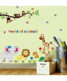 Syga Zoo Themed PVC Wall Stickers - Multicolour