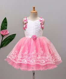 Enfance Embroidered Sleeveless Dress With Flower Appliques - Pink