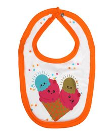 Morisons Baby Dreams Bib Ice Cream Print - Orange