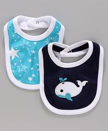 Morisons Baby Dreams Bib Star Whale Print - Blue