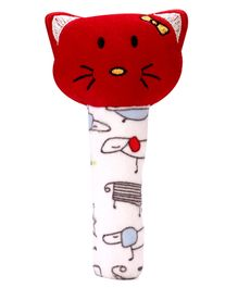 Babyhug Kitty Face Rattle Cum Soft Toy - Red & White