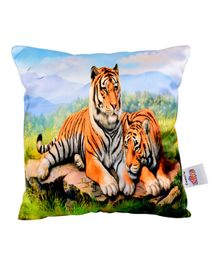 Ultra Safari Tigers Digital Printed Cushion - Multicolor
