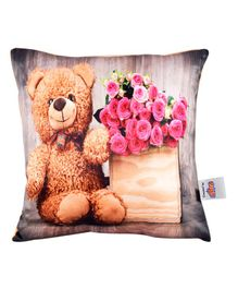Ultra Charming Teddy Bear & Rose Print Cushion  - Multicolor