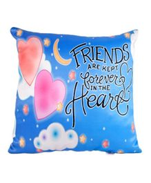 Ultra Friendship Quotes Digital Print Cushion  - Blue
