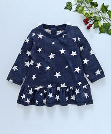 Simply Full Sleeves Frock Star Print - White & Navy