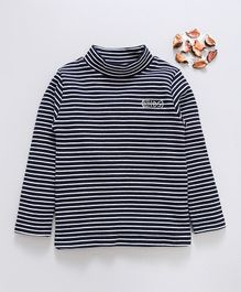 Watermelon Full Sleeves Striped High Neck Tee - Black