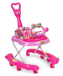 Musical Baby Walker With Parent Push Handle - Pink