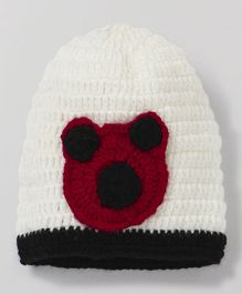 MayRa Knits Bear Design Cap - White