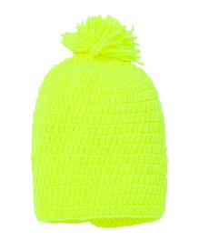 MayRa Knits Pom Pom Attached Cap - Neon Green