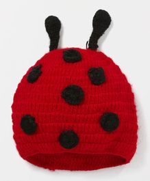 MayRa Knits Beetles Design Cap - Red